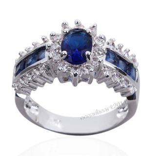 10/11 Fashion Mens 10KT White Gold Filled Blue Sapphire Gem Ring Gift