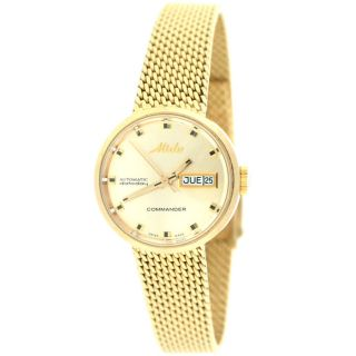 Mido Commander Automatic Datoday 7169 Ladies Gold Plated Watch Pre