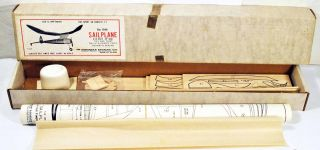 Vintage Midway Model 1940 Sailplane Wood Flying Model Airplane Kit