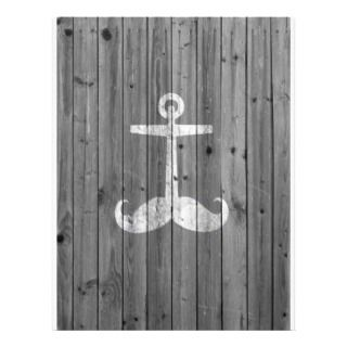 Hipster white mustache anchor on retro gray wood letterhead template