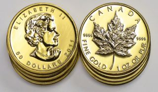 TEN 2011 Canadian 1oz Gold Maple Leaf Bullion Coins .9999 24 Kt. karat