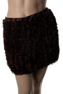 Michael Kors New Brown Chiffon Printed Ruffled Mini Skirt 16 BHFO