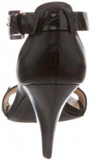 New Michael Kors Greta Black Leather Wedge Sandals Heels Shoes Size 8