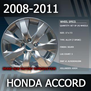 2008 2011 Honda Accord OEM Factory 17 Inch Wheels Replacement Rims