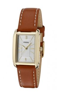 Fossil ES2782 Womens Brown Leather Strap Gold Tone Stainless Steel