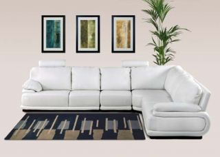 Living Room Set Milano White Leather Sectional Suite