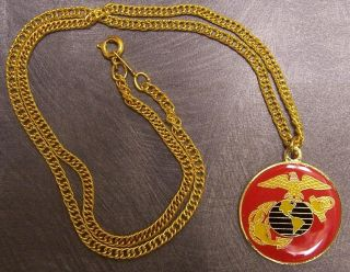 Military Necklace U s Marine Corps 18KRGP Chain New
