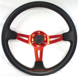 Drift Racing Rally Deep Dish Steering Wheel 350mm Red