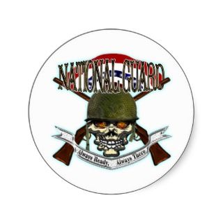 US Army National Guard Skull Helmet Sticker