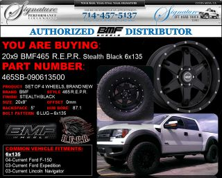BMF Repr 20x9 Stealth Black Wheels 6x135 Ford F 150 Expedition