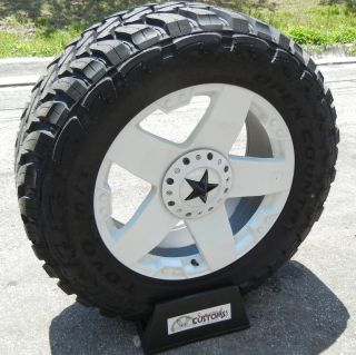 22 White XD Rockstar Wheels Rims 33 Toyo Open Country MT Chevy