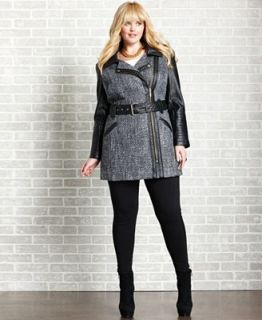 Baby Phat Plus Size Coat, Faux Leather Tweed Trench