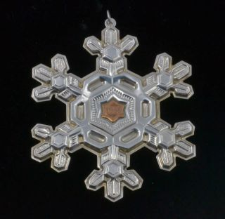 1988 Gorham Sterling Silver Gold Filled Christmas Ornament Snow Flake