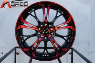 17x7 G Line G667 Wheel 5x100 114 3 40 Red Black Rim Fits Celica Civic