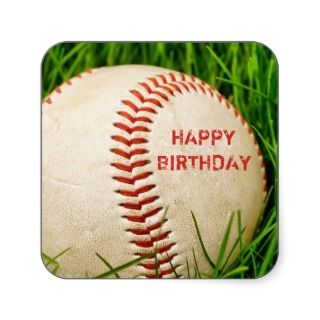 Baseball Happy Birthday Stickers