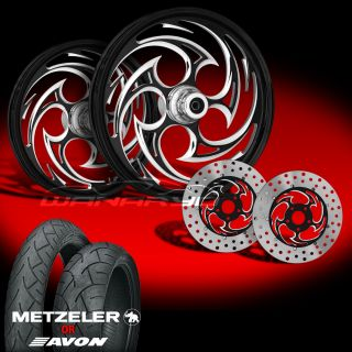 Savage Eclipse 21 Wheels Tires Dual Rotors for 2000 08 Harley Touring