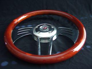 New 14 Sidewinder Mahogany Wood Grain Steering Wheel