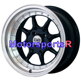 16 8 16x8 ESM 002 Black Rims Wheels Deep Dish BMW E30