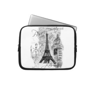 Paris Eiffel tower Black & White Collage Scene Laptop Computer Sleeve