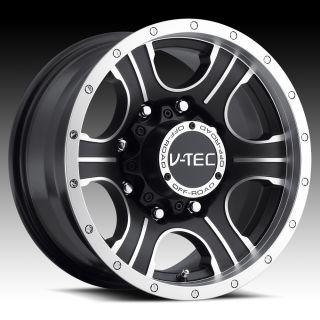 6x139 7 Black Machined V Tec Assassin Wheels Rims 6 Lug 16x8 0