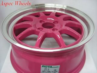 16X7 ROTA GT3 4X100 +40 ROYAL PINK WHEEL FITS CIVIC INTEGRA CRX XB