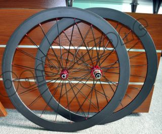 50mm Full Carbon 700c Wheels Carbon Rims Matt 3K Finish Red Hub