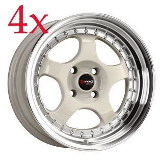 Drag Wheels Dr 46 15x7 4x100 ET10 White Rims Civic Integra Miata XB