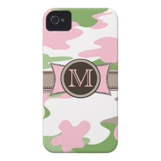 Pink Camo Monogram iPhone 4 Case Mate Barely There