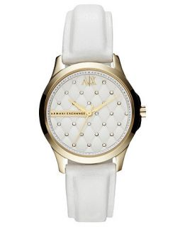 Armani Exchange Watch, Womens White Leather Strap 36mm AX5207
