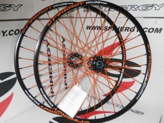 New 2013 Spinergy Xyclone Disc 29er Lefty Orange PBO Spokes Wheel Set