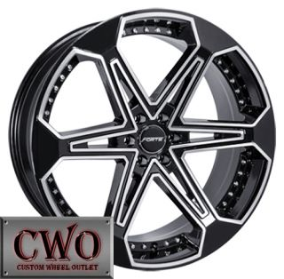 20 Black Forte Jones 6 Wheels Rims 6x127 6 Lug Trailblazer Envoy