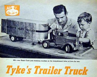 1954 Toy Tractor Trailer How to Build Plans Wood Metal