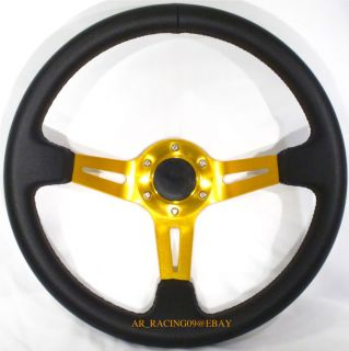 Drift Racing Rally Deep Dish Steering Wheel 350mm Gold