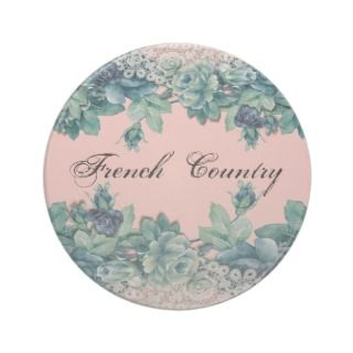 Shabby Vintage Chic Lace Blue Roses Coaster