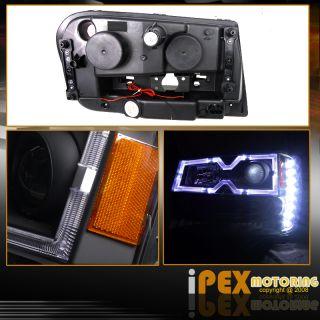 TRAILBLAZER BLACK SMD LED PROJECTOR HEADLIGHTS W/NEW STYLE HALO RIMS