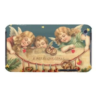 Vintage Merry Christmas Angels iPod Touch Cases