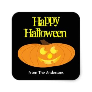 Happy Halloween pumpkin gift tag sticker
