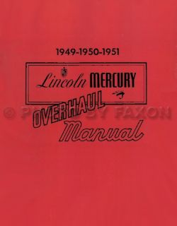 1951 Lincoln Mercury Shop Manual 49 50 51 Repair Service Book