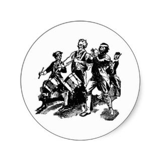 Revolutionary War Era Marching Band Illustration Round Sticker
