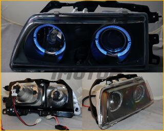 88 89 Honda Civic CRX Angel Twin Halo Projector Black Blk Headlights