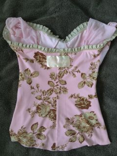Wheels & Dollbaby Pink Floral Blouse ♥ Vintage bow top singlet