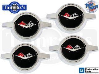59 60 Impala Bel Air Wheel Center Cap Spinner Set Black