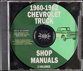 1960 1961 1962 Chevy Truck Shop Manual CD Pickup Panel Suburban