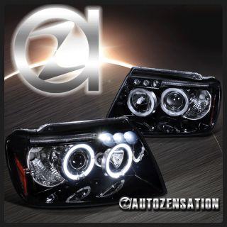 Glossy Black 99 04 Jeep Grand Cherokee Halo Projector LED Headlights