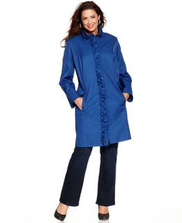 DKNY Plus Size Coat, Ruffle Trim Walker Raincoat   Womens Coats