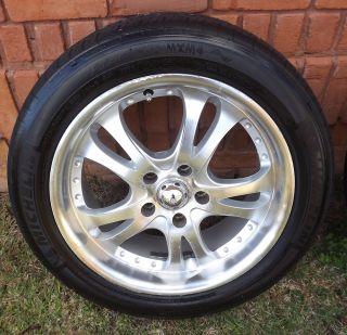 aluminum rims w/225/50/R17 tires. Offset of +35, 5 X 115 bolt pattern