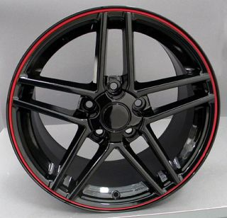 17 Black Morxchn Wheels Red Banding Fit C6 Z06 Rims Corvette Camaro