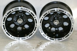 Ion Alloy 174 Black Wheels 15x10 5x4 5 87 06 Jeep Wrangler YJ TJ