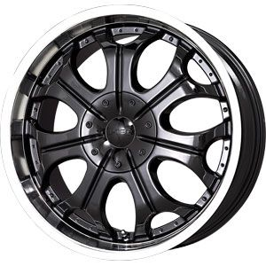 New 22X9.5 5 115/5 127 Torch 2 Black Machined Lip Wheels/Rims