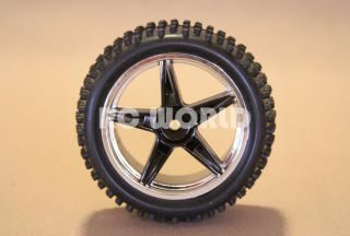 RC 1 10 Buggy Rims Tires Wheels Kyosho Tamiya 5 Star Wide Spike